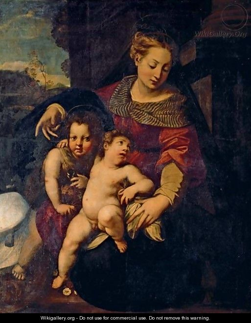The Madonna and Child with the Infant Saint John the Baptist 2 - Tuscan School