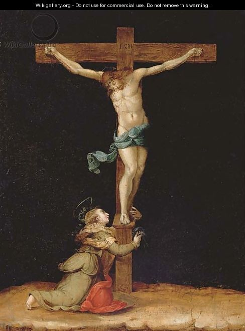 The Crucifixion with Saint Mary Magdalen - Tuscan School