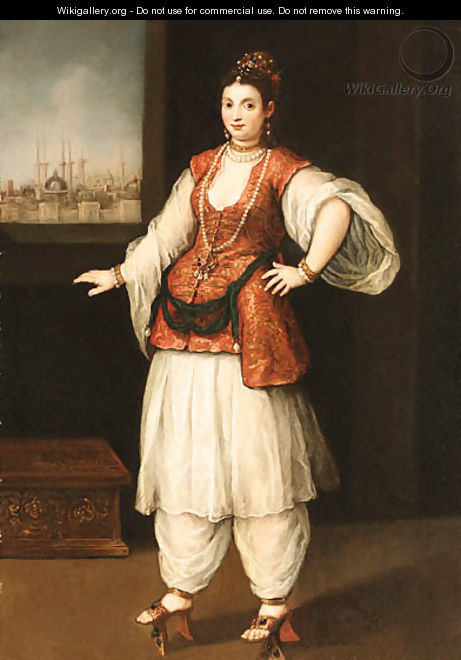 Portrait of a Sultana with a Capriccio of Istanbul through a window beyond - Venetian School