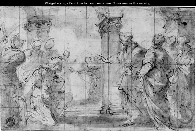 Christ and the Centurion Design for a lunette - Valerio Castello