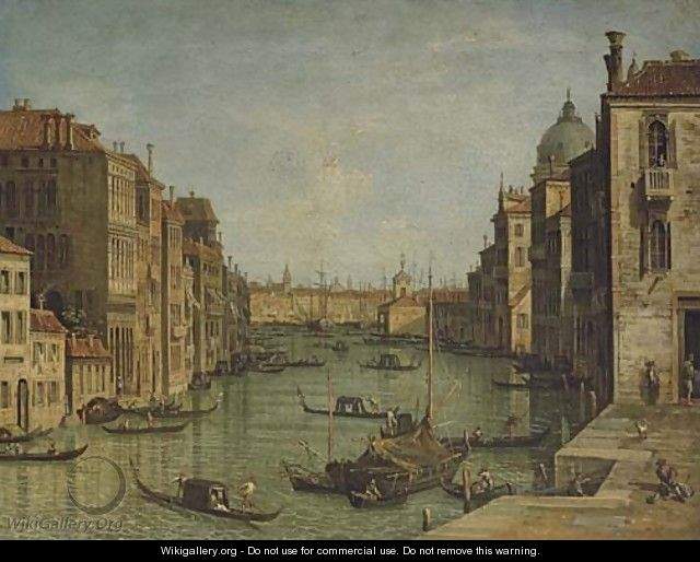 The Grand Canal, Venice, looking East from the Campo San Vio towards the Bacino - Venetian School