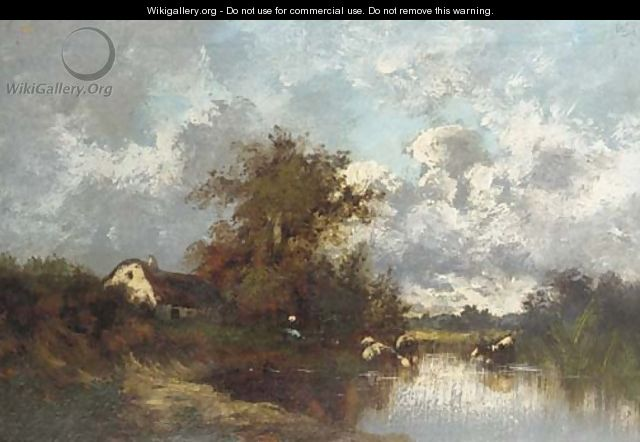 Cattle watering at a lakeside cottage - Leon Victor Dupre