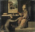 Saint Ignatius of Loyola giving a disciple a letter to take to the Madonna - Vicente Juan (Juan de Juanes) Macip