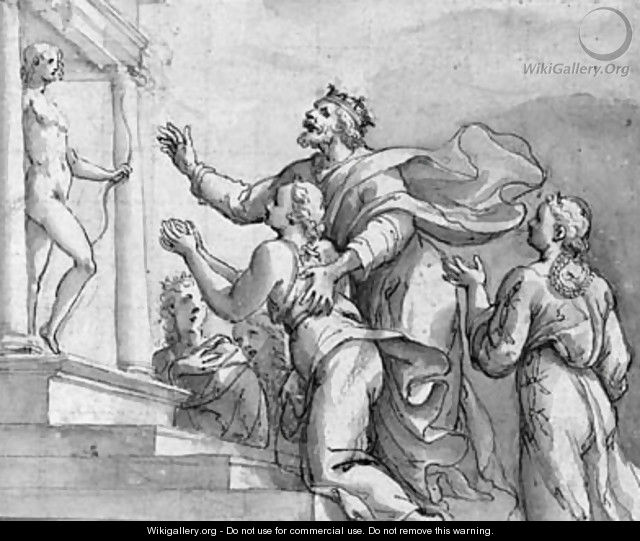 A king bringing his children to a temple dedicated to Apollo - Veronese School