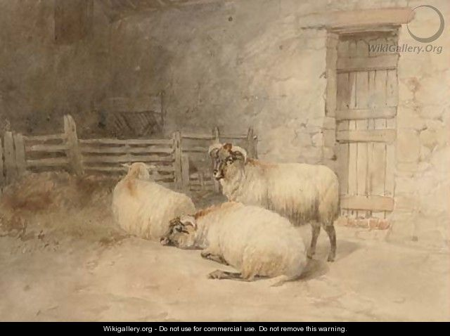 Sheep resting before a barn - Thomas Sidney Cooper