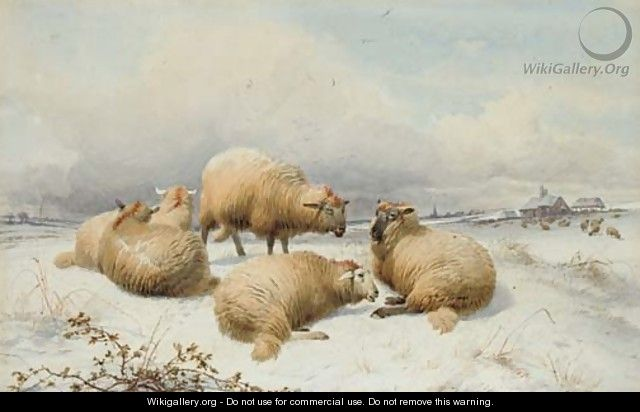 Sheep in the snow 2 - Thomas Sidney Cooper