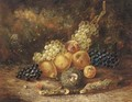 Grapes, pears, apples, a peach and a bird's nest with eggs, on a mossy bank - Thomas Whittle