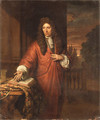 Portrait of a Gentleman, small three-quarter length, in a red robe, beside a draped table - Thomas van der Wilt