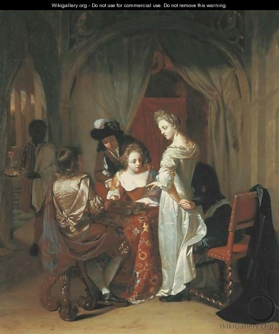 Elegant company playing tric-trac around a table in an interior - Thomas van der Wilt