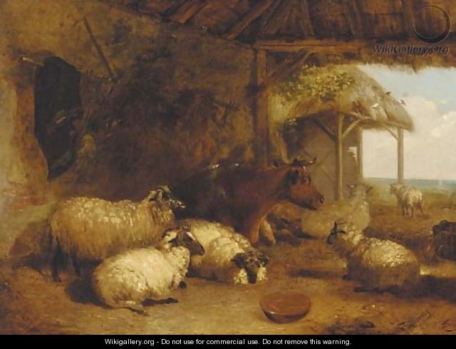 Sheep and cattle in a barn - Thomas Sidney Cooper
