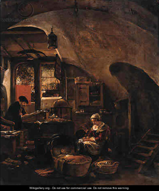 An alchemist at work in a vaulted room, with a woman seated by a cradle - Thomas Wijck