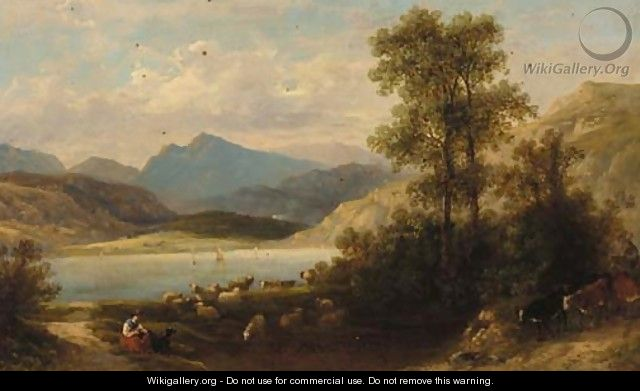 A drover with cattle and a shepherdess in a mountainous lake landscape - Thomas Whittle