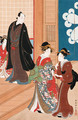 Courtesan arriving to meet her client at a teahouse - Torii Kiyotada II