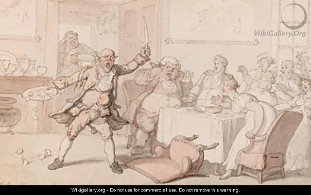 A mad dog in a dining room - Thomas Rowlandson