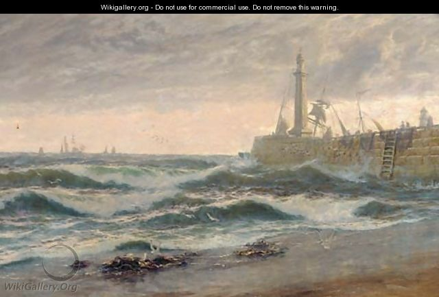 Windy morning, Whitby Sands - Thomas Rose Miles