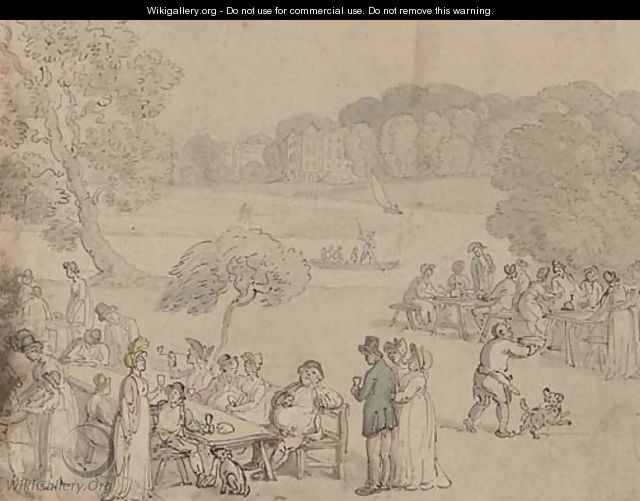 Figures picnicking by the Thames at Twickenham - Thomas Rowlandson