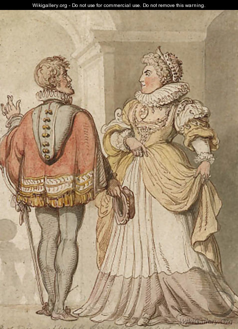 Elizabeth and Sir Walter Raleigh - Thomas Rowlandson