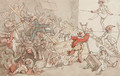 Dr. Syntax involved in the collapse of the theatrical booth - Thomas Rowlandson