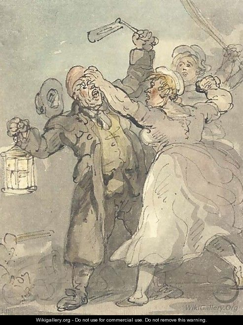 Attacking the night watchman - Thomas Rowlandson