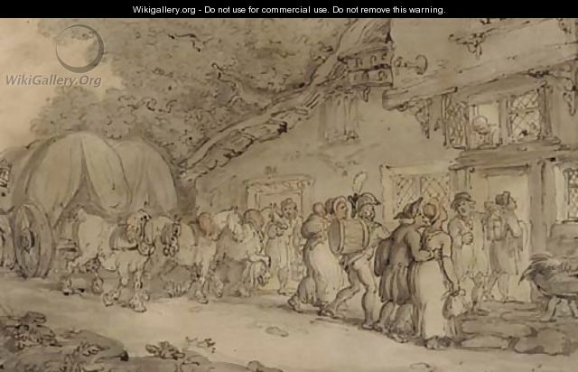 Arriving at the inn - Thomas Rowlandson