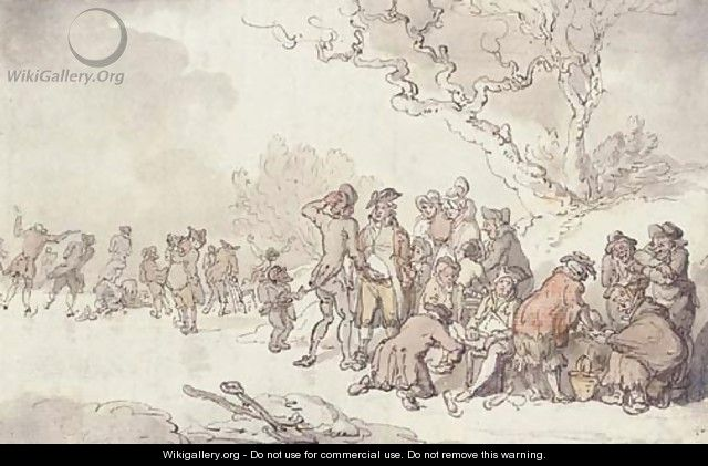 A skating party on the Serpentine, London - Thomas Rowlandson