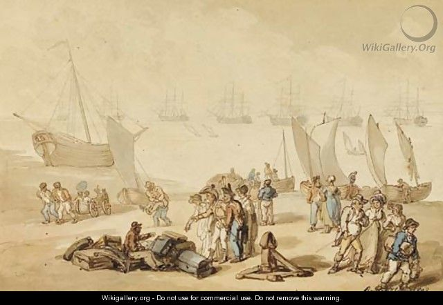 Passengers alighting from a ferry - Thomas Rowlandson