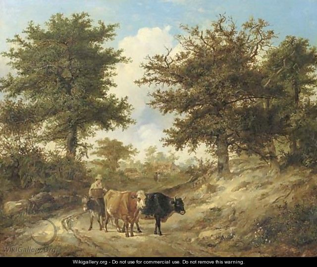 A lane scene, with a peasant driving cattle - Thomas Sidney Cooper