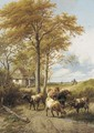 Cattle by a cottage, and a rider with his dog, Canterbury beyond - Thomas Sidney Cooper