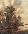 A populated village at the banks of a river - Thomas Heeremans
