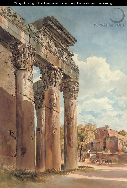 The Temple of Antoninus and Faustina in the Forum, Rome - Thomas Hartley Cromek