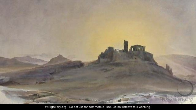 The Acropolis of Athens at sunset - Thomas Hartley Cromek