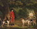 Portrait of Thomas Sebright with Hounds of the New Forest Hunt, in a wooded landscape - Thomas Gooch