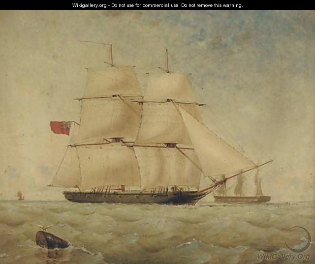 H.M. brig Sea Lark running inshore - Thomas Goldsworth Dutton