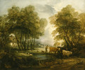 A wooded Landscape with Herdsmen, Cows and Sheep near a Pool, figures outside a cottage beyond - Thomas Gainsborough