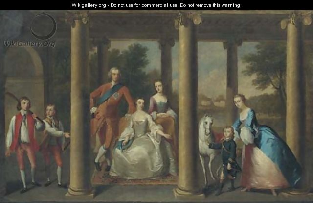 Portrait of the family of the 3rd Duke of Marlborough, a landscape beyond - Thomas Hudson