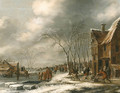 A Winter Landscape with Villagers on a frozen Waterway - Thomas Heeremans