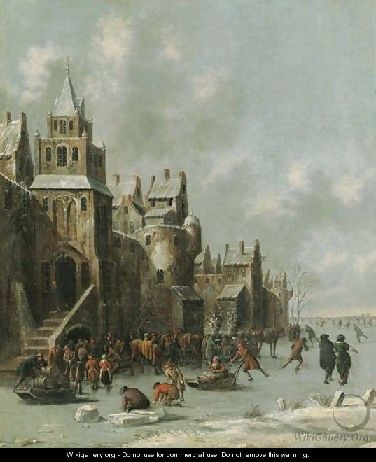 Townsfolk skating and sledging on a frozen moat before a town wall - Thomas Heeremans