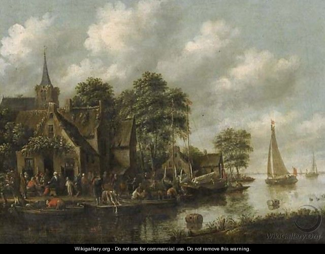 An inn by a river with moored sailing vessels and a washerwoman on a jetty - Thomas Heeremans