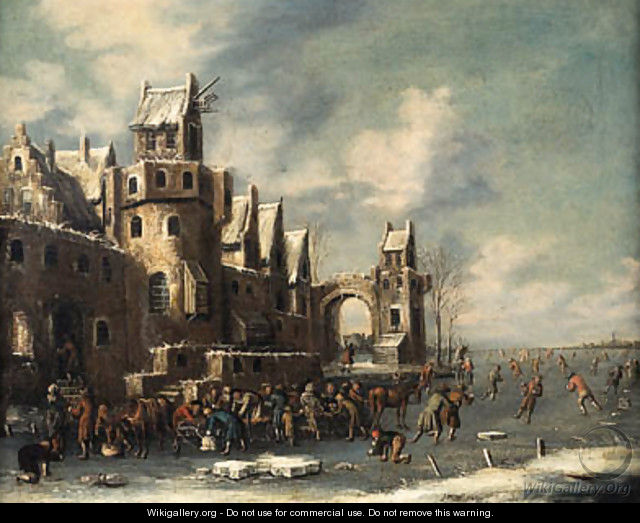 A winter landscape, with skaters and horse-drawn sledges beneath the walls of a town - Thomas Heeremans