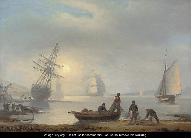 Fishermen sorting their nets on the foreshore at Teignmouth, at dusk - Thomas Luny