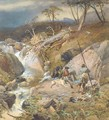 A Highland burn with an angler conversing with two gillies other sportsmen can be seen approaching from the distance - Thomas Miles Richardson, Jnr.
