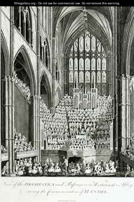 View of the Orchestra and Performers in Westminster Abbey, during the Commemoration of Handel - Edward Francis Burney