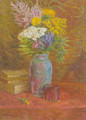 Summer flowers in a coloured glass vase - Zbigniew Pronaszko