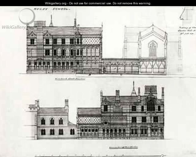 West and North Elevations, New School, Rugby School ...