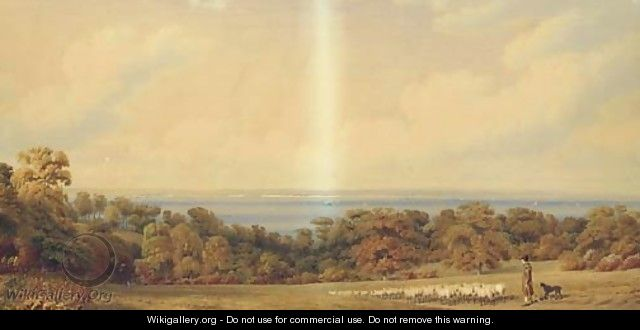A view near Ryde, Isle of Wight, looking towards Spithead, Portsmouth - William (Turner of Oxford) Turner
