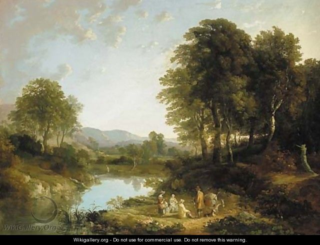 A wooded river landscape with figures in the foreground, traditionally identified as