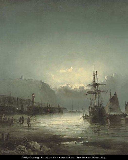 Whitby harbour at dusk - William A. Thornley or Thornbery