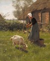 A farmer's wife tending to the livestock - Willy Martens