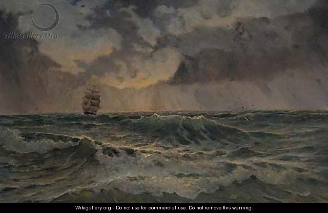A two-masted barque in choppy waters - Wladyslaw Stachowski