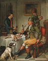 A sportsman after the chase, smoking in an interior - Wybrand Hendriks